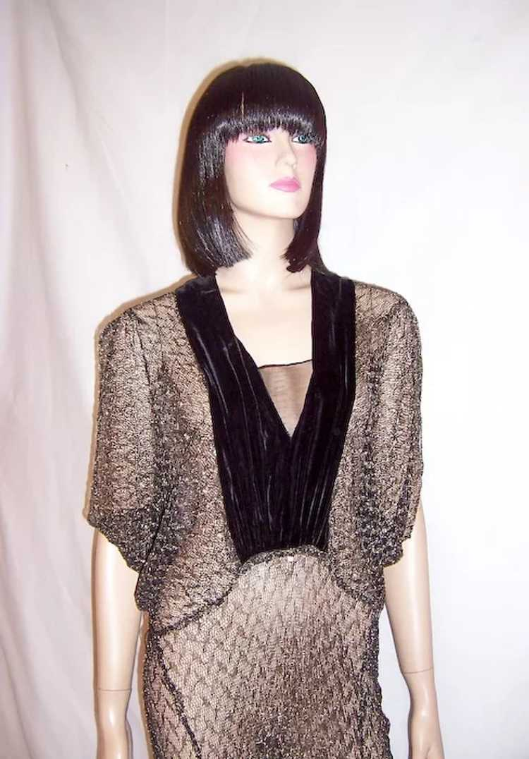 1930's Black & Silver Metallic Lace Gown with Vel… - image 5
