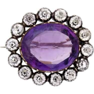 Amethyst Paste 12k Gold Brooch with Paste Diamond