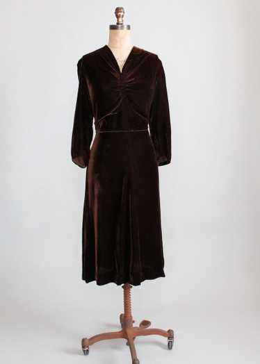 Vintage Late 1930s Classic Brown Velvet Dress