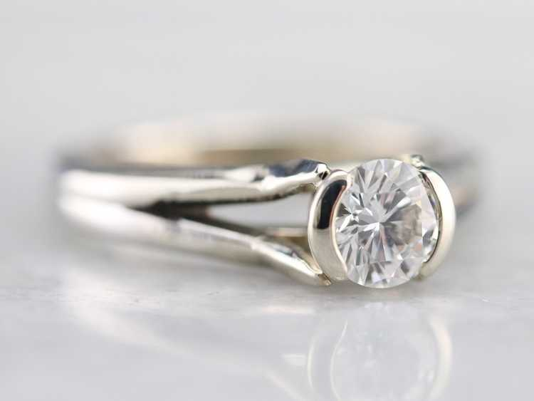 White Gold Diamond Solitaire Ring - image 2