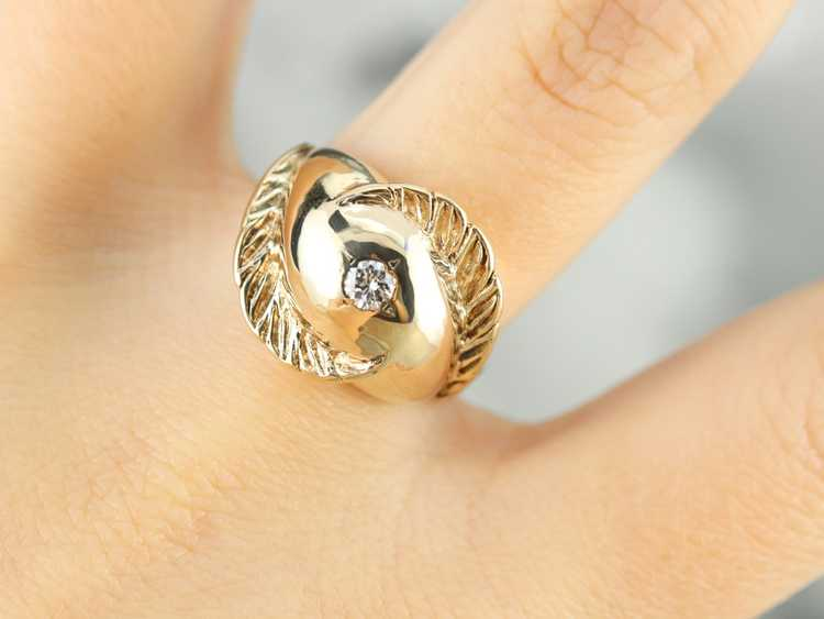 Diamond Solitaire Gold Feather Ring - image 6