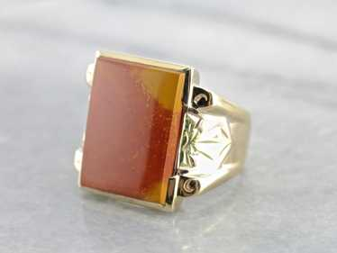 Antique Brick Red Men's Jasper Ring