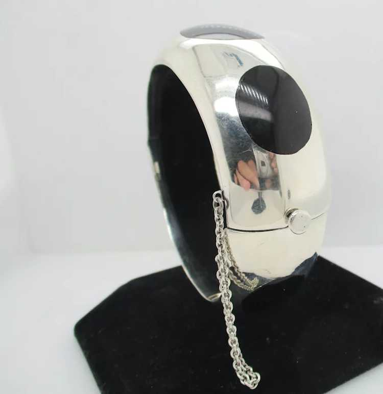 Sterling Silver and Onyx Mid-Century Modern Brace… - image 3