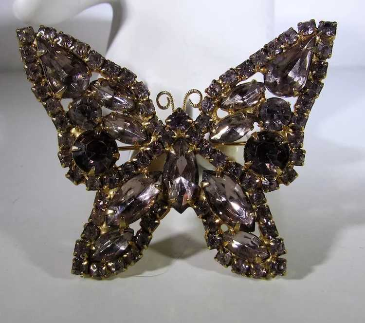 Vintage Dusty Rose Crystal Butterfly - image 2