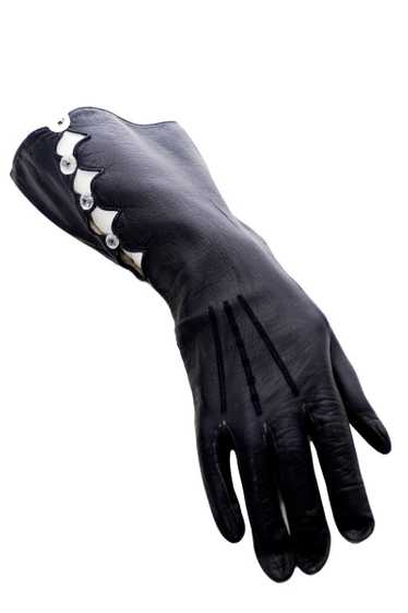 Vintage Midnight leather gauntlet gloves with ope… - image 1