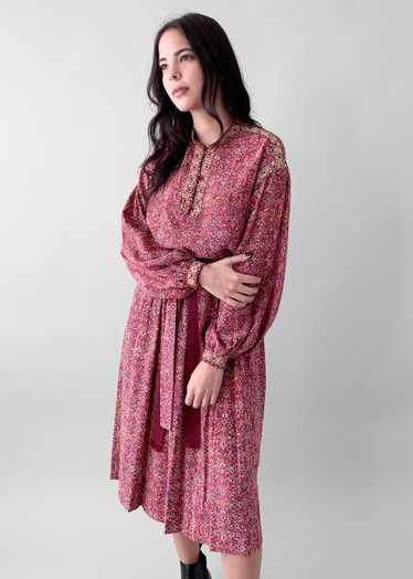 Vintage 1970s Ungaro Silk Peasant Dress Set