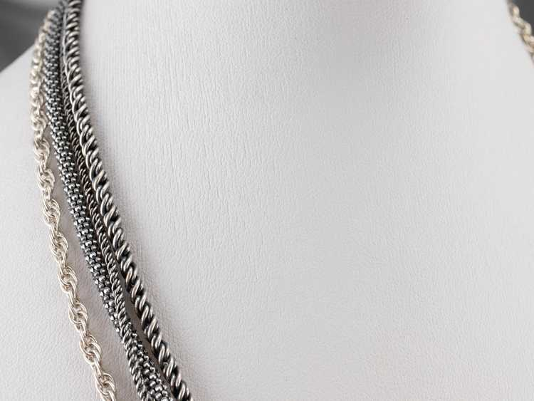 Sterling Silver Multi Strand Chain Necklace - image 9