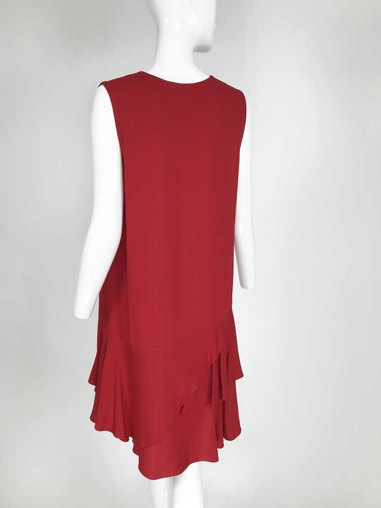 Lanvin Cherry Red Silk Blend Crepe Chemise Dress - image 5