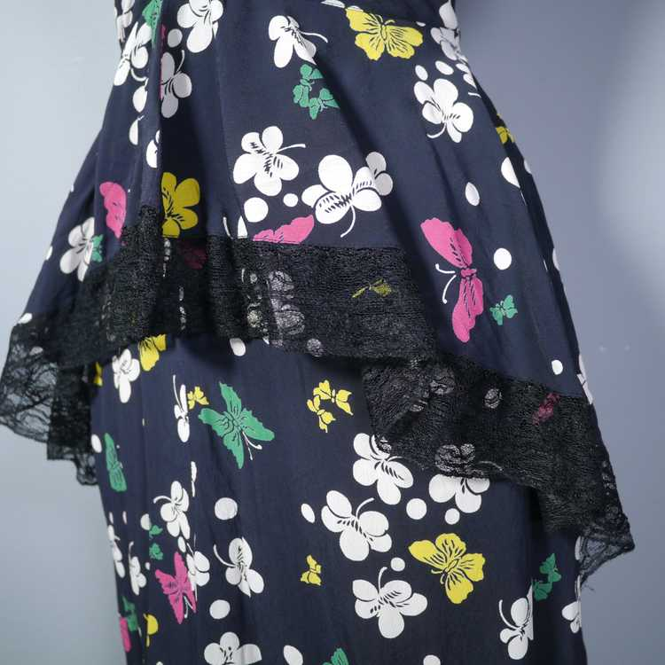 40s BUTTERFLY PRINT RAYON DRESS WITH PEPLUM AND K… - image 8