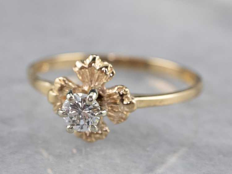 Floral Diamond and Gold Solitaire Ring - image 3