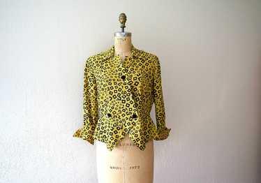 1940s blouse . vintage 40s rayon print top