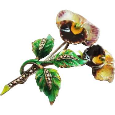 Enamel Pansy on Sterling Silver Brooch Pin - Germ… - image 1