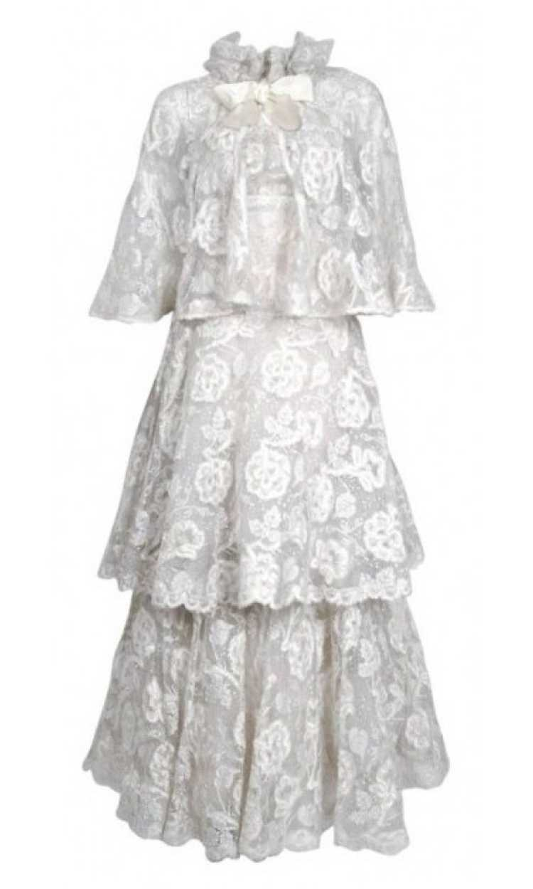 1968 Arnold Scaasi Couture White Embroidered Lace… - image 1