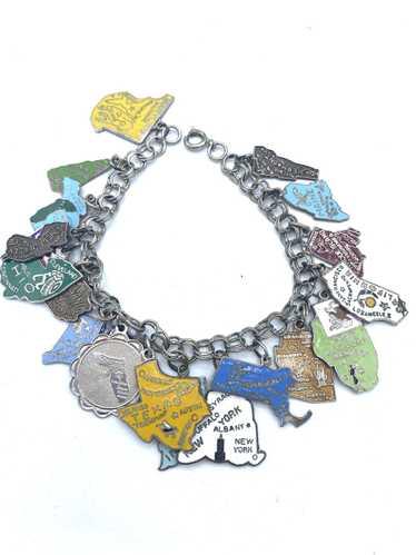 Mid Century Souvenir States Silver Charm Bracelet