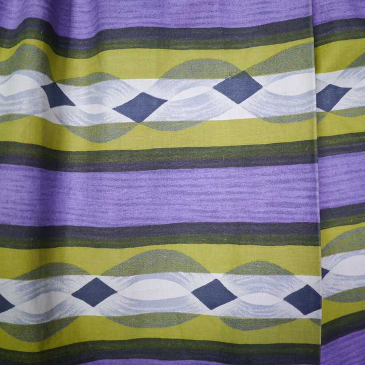 50s MID CENTURY PRINT PURPLE AND LIME STRIPED DOU… - image 7