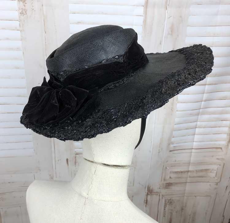 Original 1930s 30s Black Straw And Velvet Wide Br… - image 11