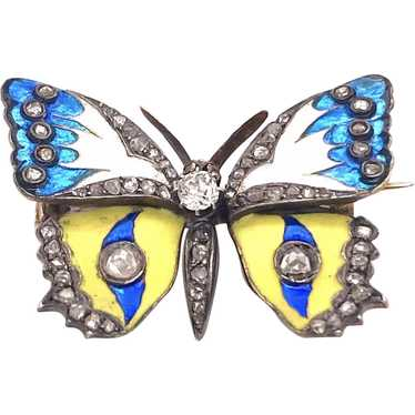 Gorgeous Art Nouveau Butterfly Enamel Brooch