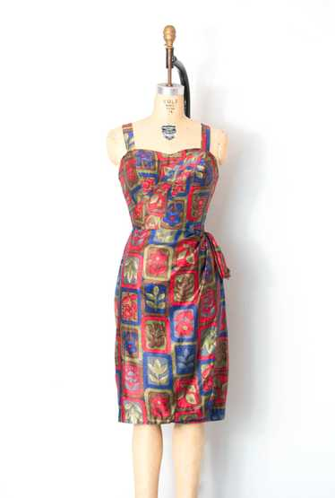 1950s Ruby Of Miami Cotton Sarong dress | S