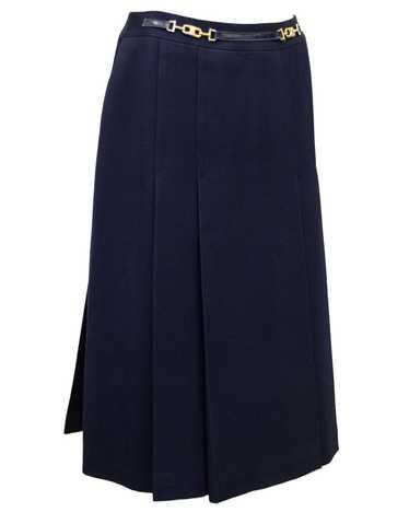 Celine Navy Wool Gabardine Pleated Skirt