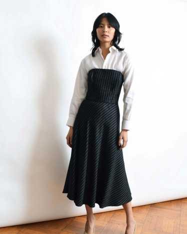 Pinstriped Strapless Dress