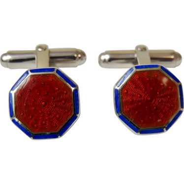 Sterling Cufflinks Guilloche Enamel Brick Red and