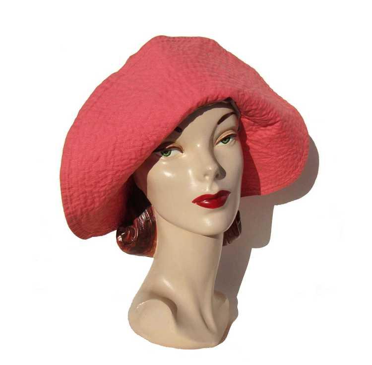 Vintage 50s Pink Beach Hat Ladies Floppy Hat - Bl… - image 1