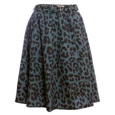 Rika Green skirt with leopard print