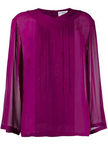 Chanel Pre-Owned 1990s sheer blouse - PURPLE