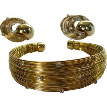 Mid Century Modern Gold Tone Wire Bracelet and Ear