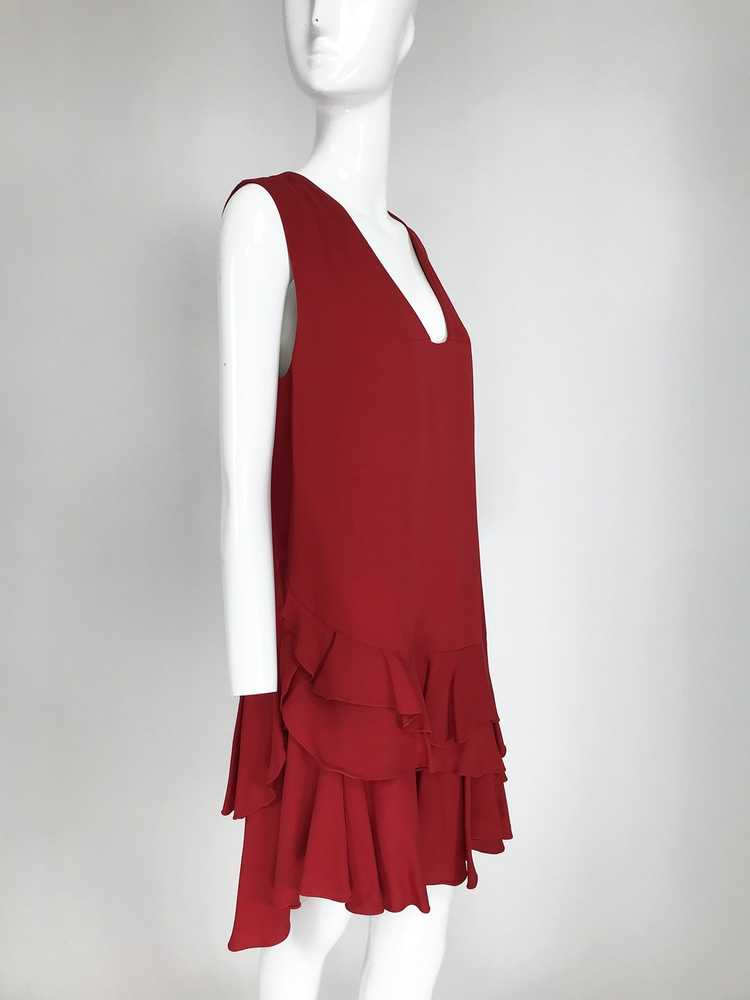 Lanvin Cherry Red Silk Blend Crepe Chemise Dress - image 9