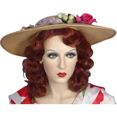 Vintage 1950s Mia Pyrreck Straw Floral Picture Hat