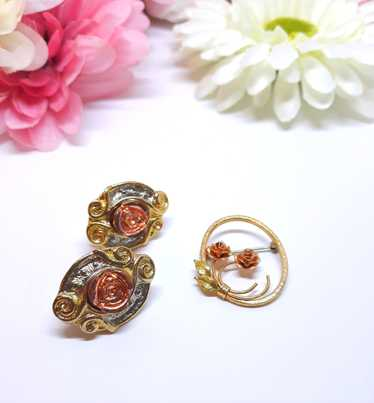 Brooch and Earring Duo: Delicate Dusty Pink Floral
