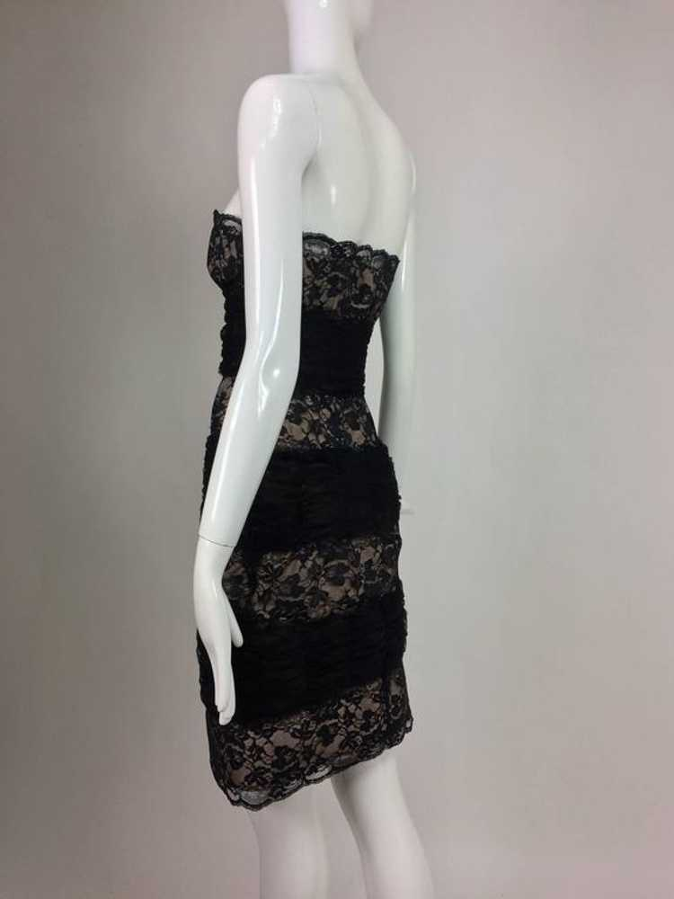 Arnold Scaasi Black Lace and Tulle Strapless Cock… - image 5