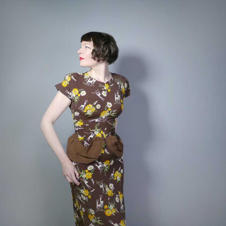 40s NOVELTY DEER AND FLOWER PRINT BROWN RAYON DRE… - image 2