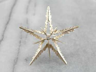 Vintage Diamond Star Gold Brooch