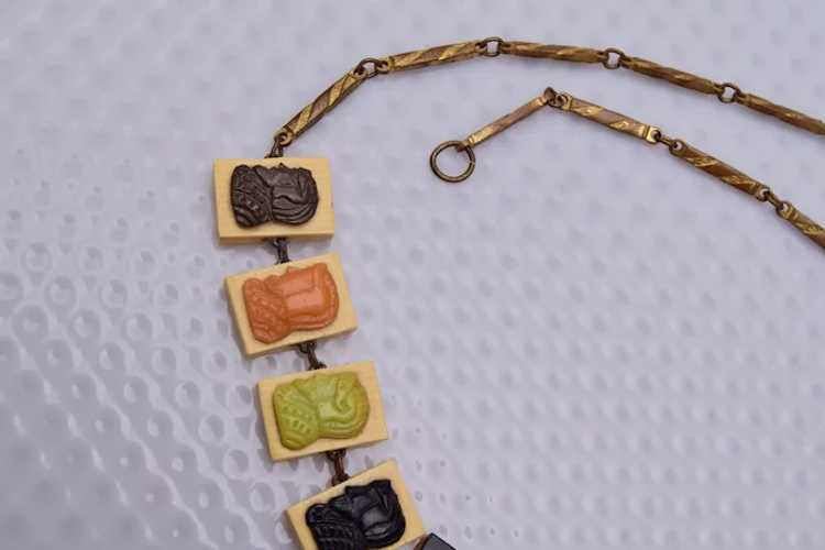 10 Celluloid Cameo Panels Necklace - image 4
