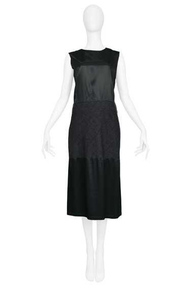 MARGIELA ARTISANAL SATIN & WOOL PANEL DRESS 2002
