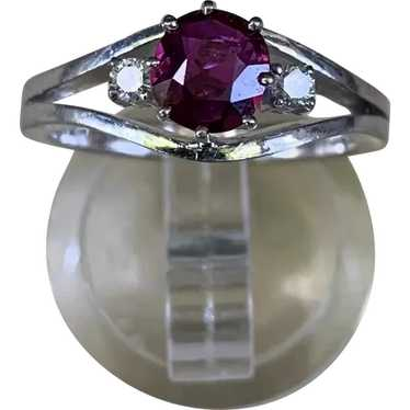 18k Gold Ruby Diamond Solitaire Ring - image 1