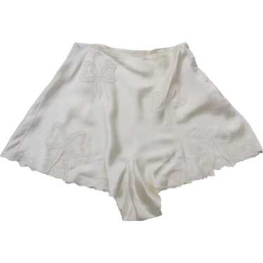 Vintage 1940's Tap Pants Cream Colored Embroidered