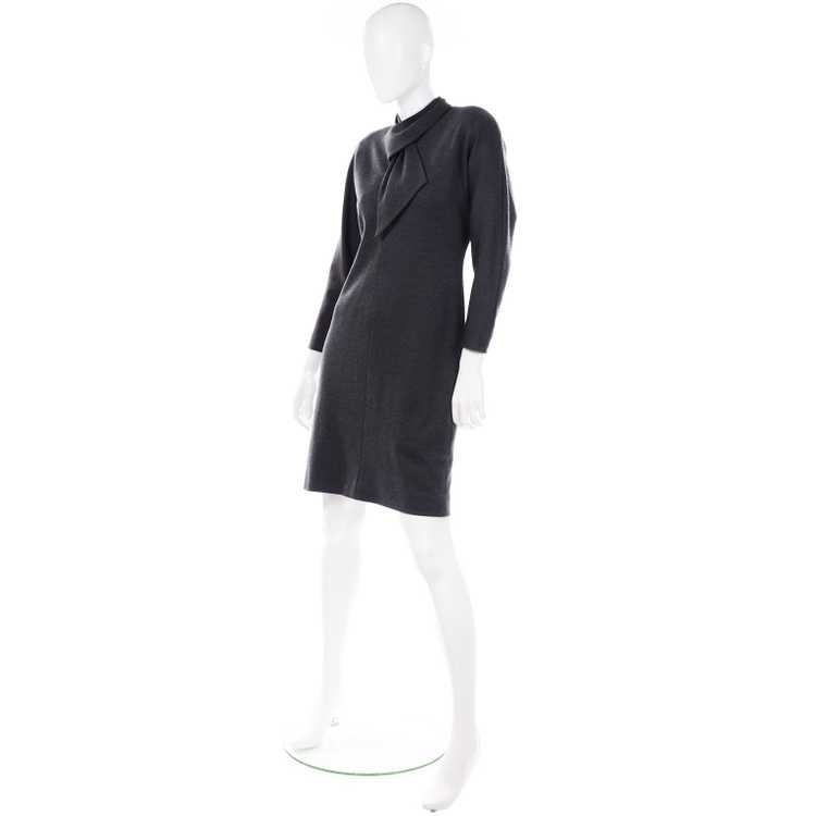 1970s Vintage William Travilla Charcoal Gray Dres… - image 3