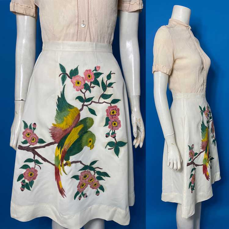 hand painted 1940s skirt - image 3