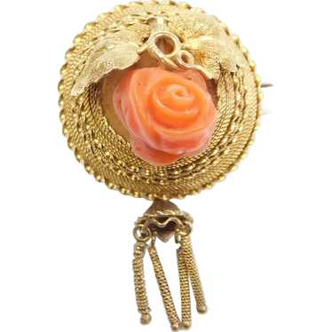 Antique Angel Skin Coral Rose Stick Pin Victorian Carved Flower Gold Filled Lapel Pin