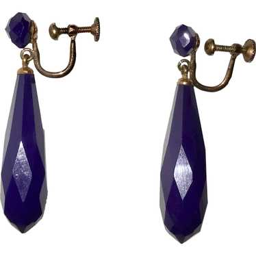Art Deco Deep Purple Drop Earrings