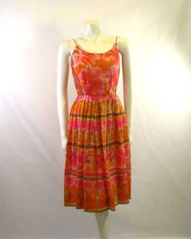Vintage Jerry Gilden Printed Summer Dress 1950s