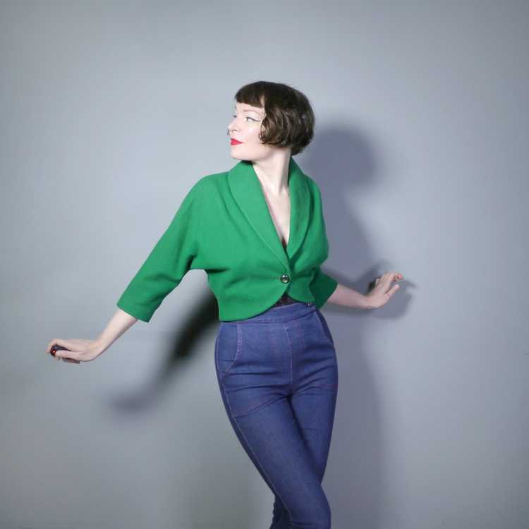 50s GREEN WOOL CROPPED BOLERO JACKET - M-L - image 3