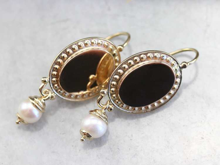 Vintage Yellow Gold and Pearl Drop Earrings - image 2