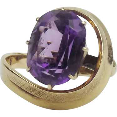 14ct Yellow Mexican Gold Amethyst Ring UK Size P U