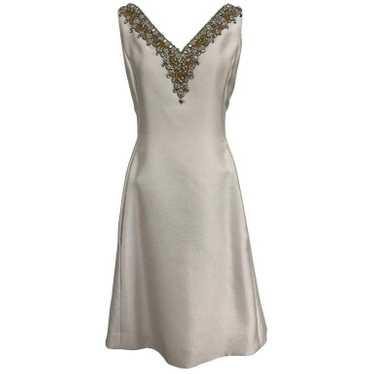 Malcolm Starr jeweled V neck silk dress 1960s