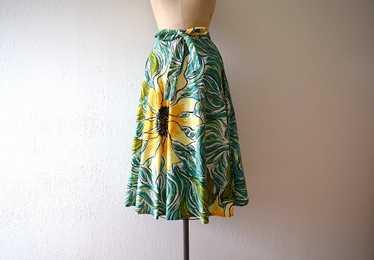 1950s skirt . vintage 50s sunflower skirt
