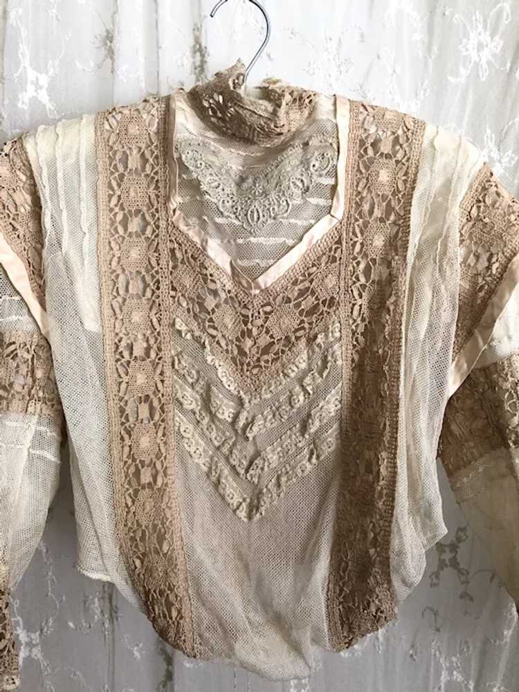 Antique 1890's Victorian Net Lace and Silk Bodice… - image 2